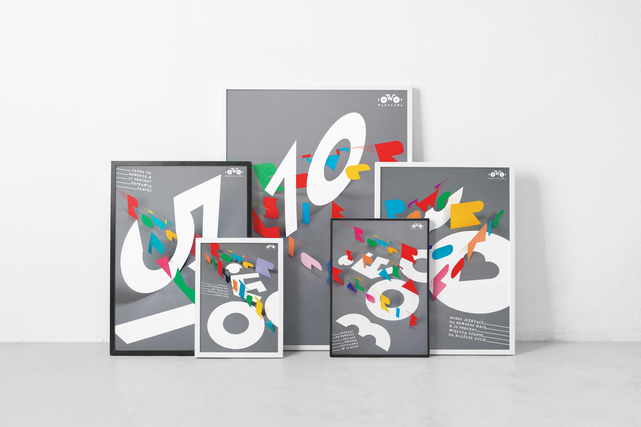 Seria plakatów promująca komunikację rowerową w Warszawie